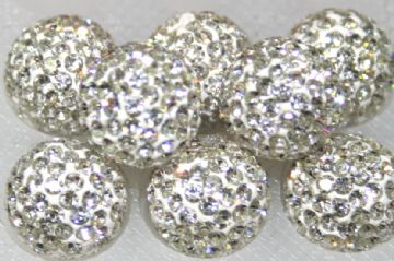 12mm Clear 130 Stone Pave Crystal Beads - Half Drilled  PCBHD12-130-003